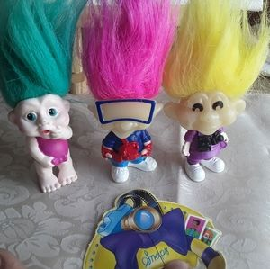 LOT OF 3 VINTAGE magic trolls Burger King doll 93